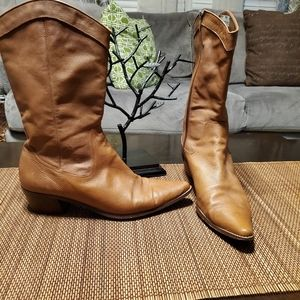 ANNE KLEIN  Leather Brown Cowboy Boots